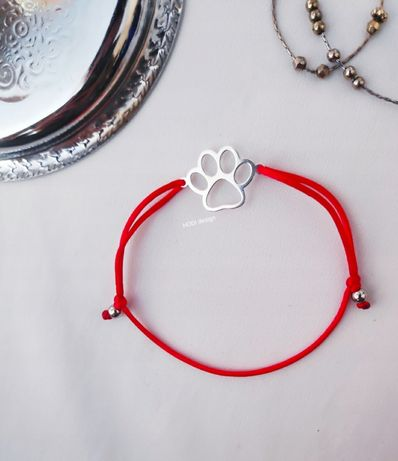Psia łapa łapka pies bransoletka Szczęścia szczęście na sznurku kulki
