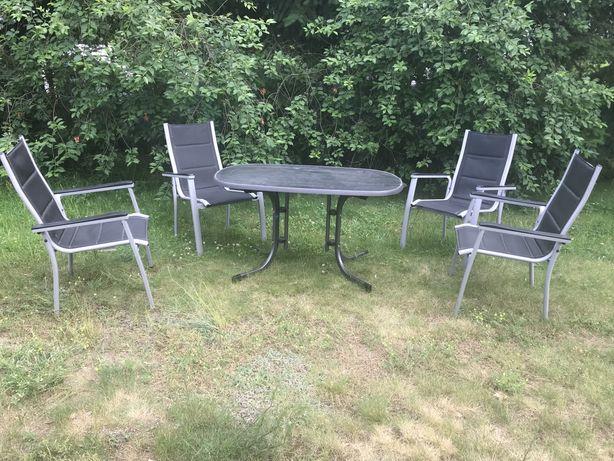 Aluminiowe meble ogrodowe stol z krzeslami