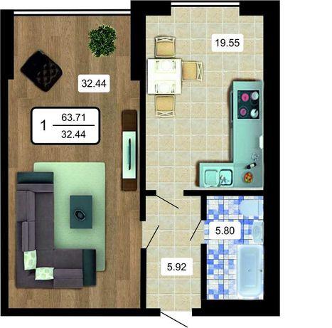 Продаж квартири в центрі з можливістю перепланування в 2 кімнатну