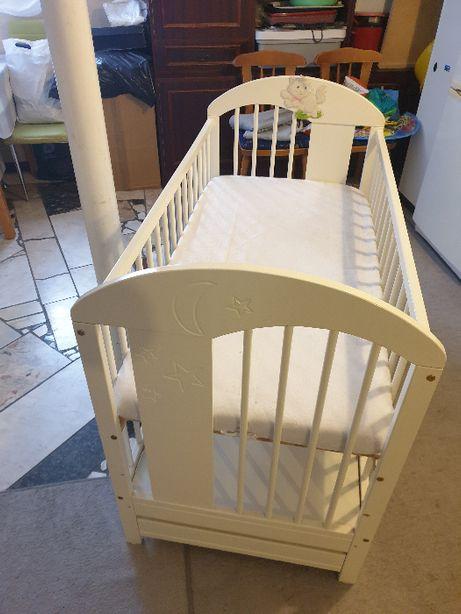Łóżeczko dziecięce białe szuflada materac