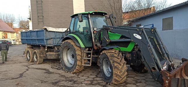 Wynajem ciągnika Deutz-Fahr rolniczego z przyczepą i turem (wozidło)