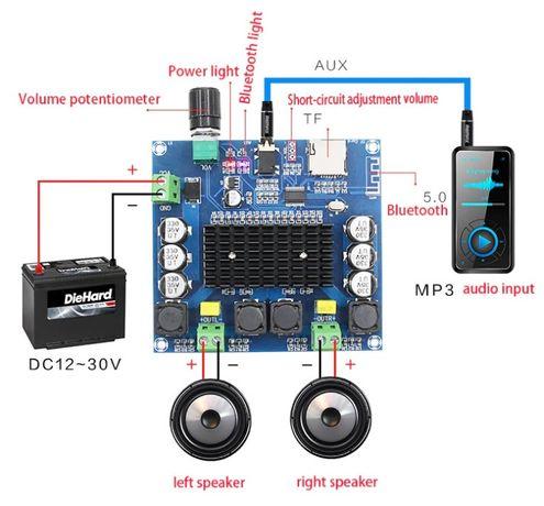 TDA7498 Bluetooth v5.0 2*100W Усилитель звука XH-A105 2.0 DC 12-30В
