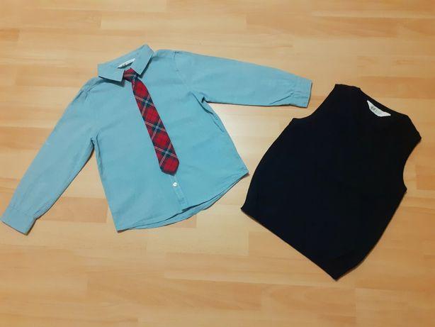 Komplet H&M Koszula, krawat, kamizelka rozm. 122 6-7 lat