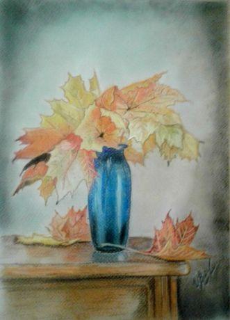 """Картина """"Осенний букет"""" А4, пастель, в рамке"""