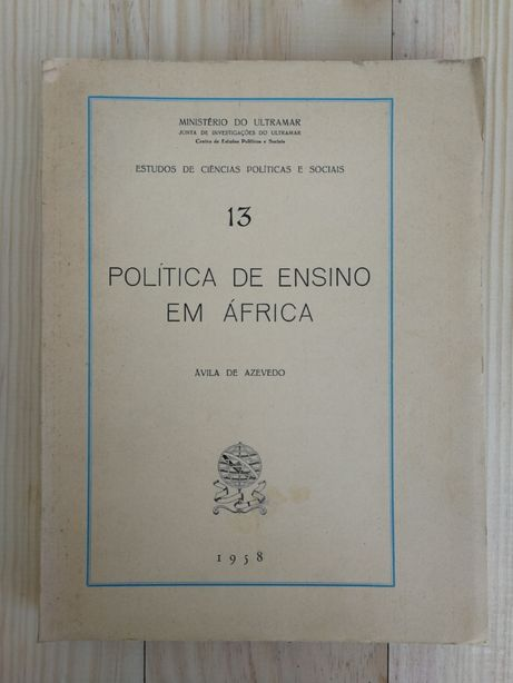 política de ensino em áfrica, avila de azevedo, 1958