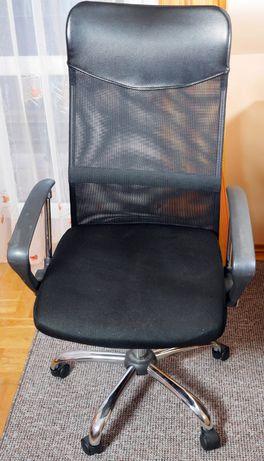Fotel biurowy, obrotowy, na kółkach ergonomiczny, czarny z siatką