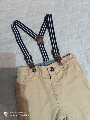 Spodnie f&f beżowe na szelkach