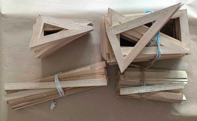 Лінійки та косинці дерев'яні