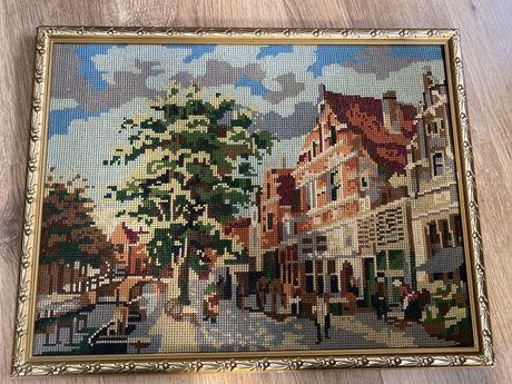 Stary wyszywany ręcznie obraz 49/38 cm w drewnianej ramce