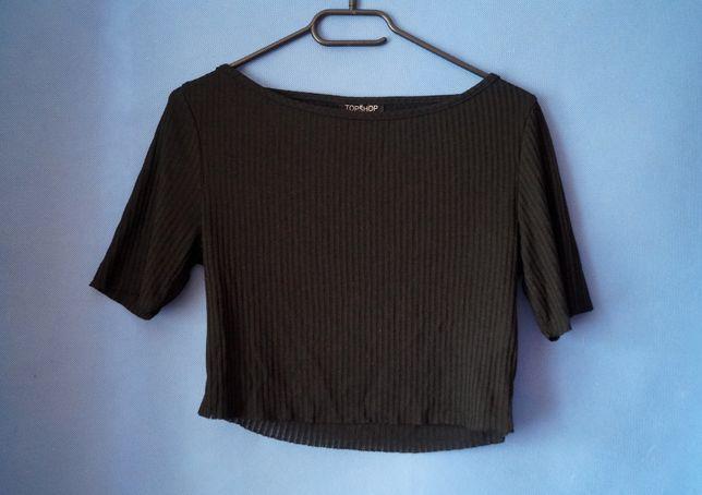 Czarna bluzka crop top klasyczny elegancki Topshop