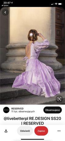 Fioletowa sukienka midi reserved 38