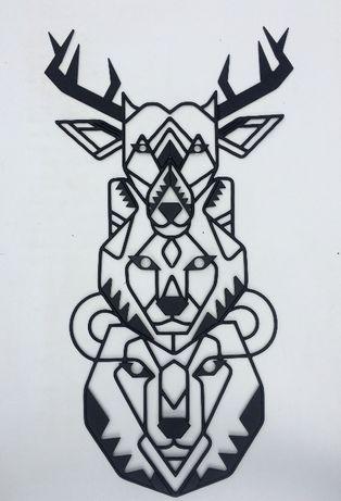 Настенный декор панно картина Звери лофт из металла ручной работы!!!