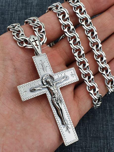 Жирная!!! Серебряная цепочка с крестиком. Цепь серебро, кулон - крест