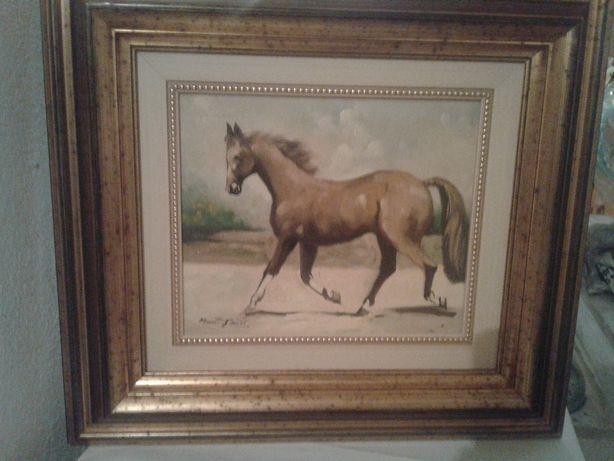 Quadro original a óleo, motivo cavalos, de Mário Faria