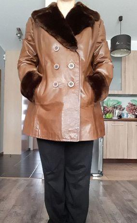 Płaszcz kurtka ze skóry z futrem S / M