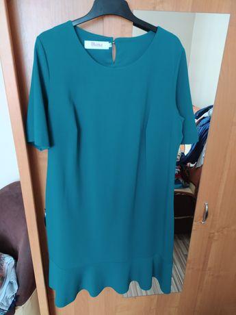 Butelkowa zieleń sukienka 52-54