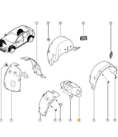 Подкрылок передний Renault Megane 3 пистон крепление подкрыльника