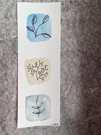 Kartka okolicznościowa zakładka boho kwiaty liście