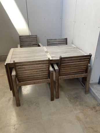 Mesa em madeira natural para exterior + 4 cadeiras