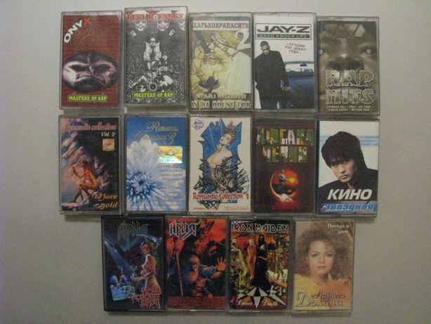 Аудиокассеты разных жанров и исполнителей.