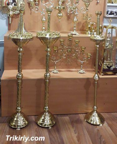 Подсвечники церковные напольные из латуни на 18 и 24 свечи