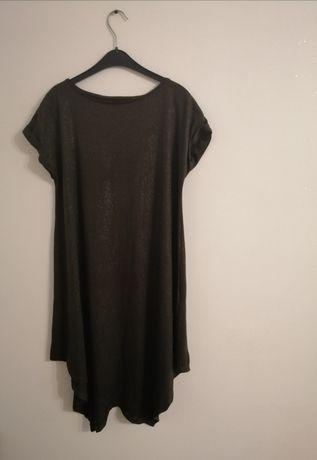 Asymetryczna sukienka z brokatową nitką