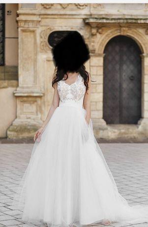 suknia ślubna z odpinanym trenem NOWA 34 36 S XS