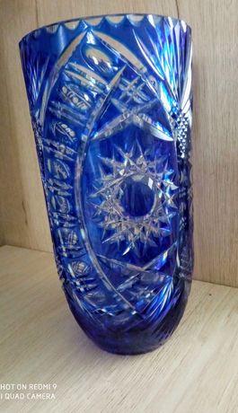 Kobaltowy kryształowy wazon wysokość 25 cm