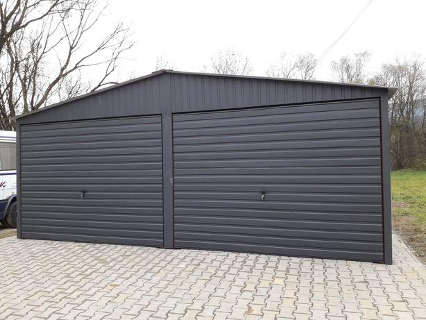 Dwuspadowy garaz blaszany 6x5 . Grafit