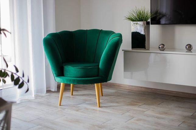 Fotel muszelka butelkowa zieleń