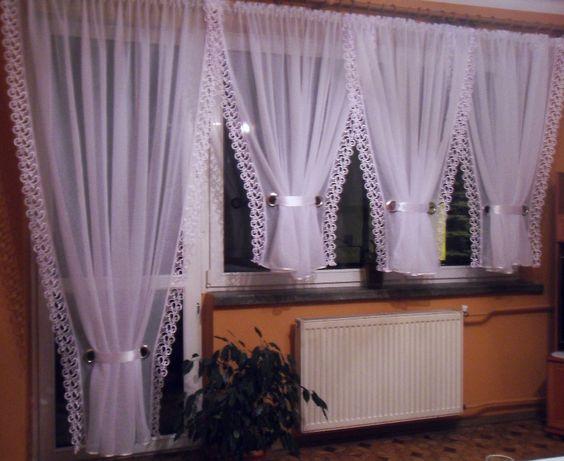 Firana balkonowa ,gipiura,4V-ki ,karnisz dł.3.5-4m