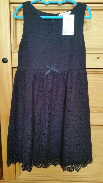 Granatowa  koronkowa sukienka H&M 8-10 lat 128-140 cm