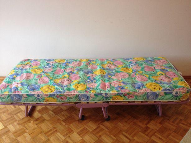 Łóżko polowe turystyczne składane gruby materac