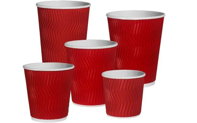 Гофра стакан бумажный для кофе, чая Красный 340мл. Арт 03109