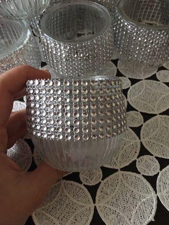 Świeczniki srebro cyrkonie wesele ślub komunia chrzest