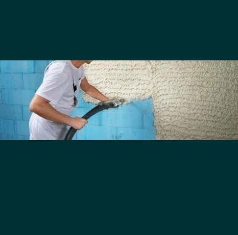 Tynki maszynowe gipsowe cementowe tynkowanie