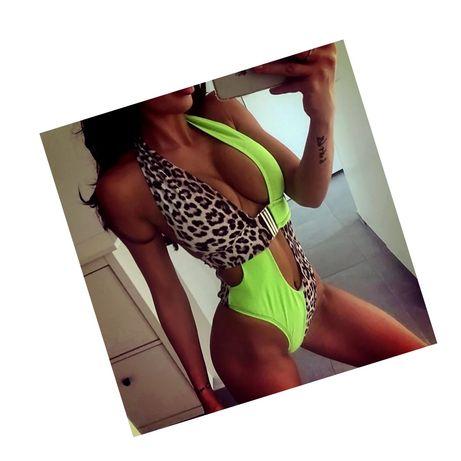 Strój kąpielowy bikini jednoczęściowy panterka neon m