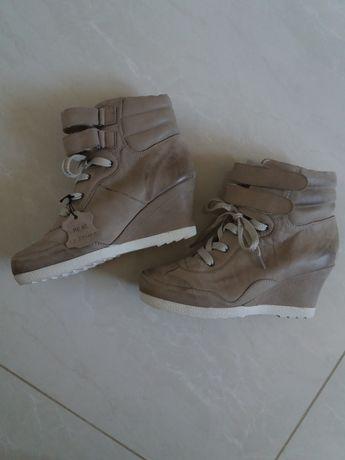 Sneakersy na koturnie skórzane skóra naturalna Bohan rozm. 40 rzep