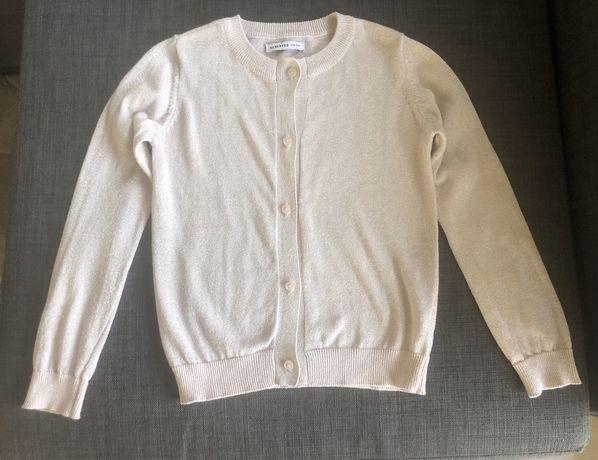 Sweter sweterek Reserved 116 cm beżowy ze srebrną nitką