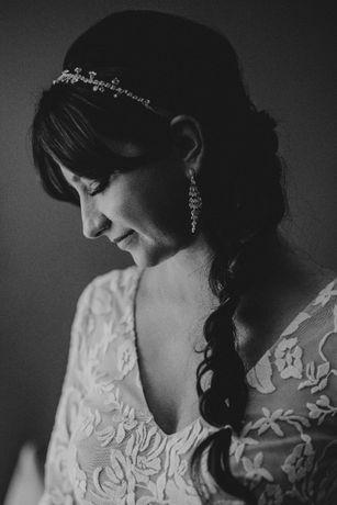 Biżuteria ślubna opaska+kolczyki