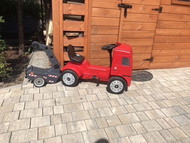 Duże auto na pedaly traktor Renault dzwig laweta