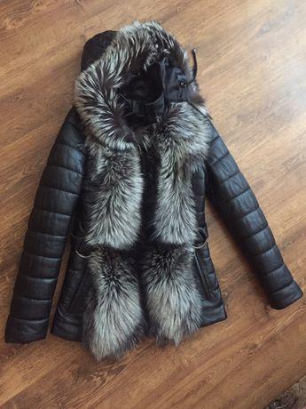 Куртка кожанная с соболем