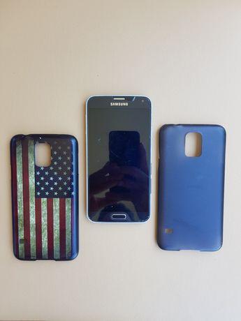 Telemóvel Samsung Galaxy S5 Neo Avariado p/ peças c/ duas capas