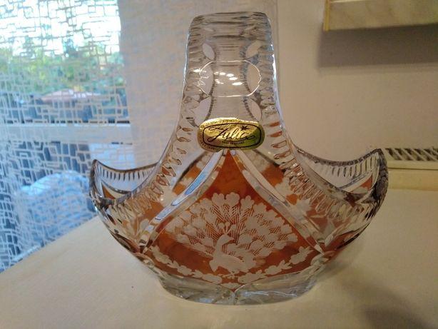 Koszyczek kryształowy z Huty Julia