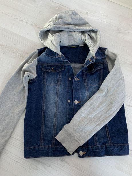 Kurtka dżinsowa, bluza sportowa, katana, 158