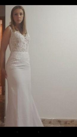 NOWA suknia ślubna rybka syrena lekka, zwiewna, boho, 36
