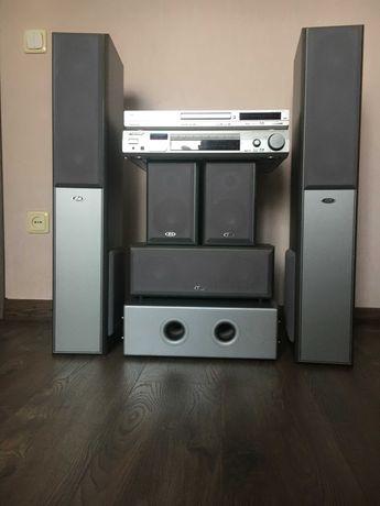 Домашний кинотеатр (акустическая система, ресивер, DVD проигрыватель)