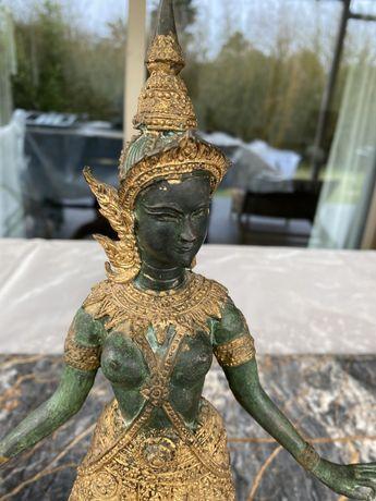 3 Estatuas de budha em jade e talha dourada