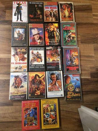 Kasety VHS filmy kino niemieckie westerny różne tytuły VHS retro video