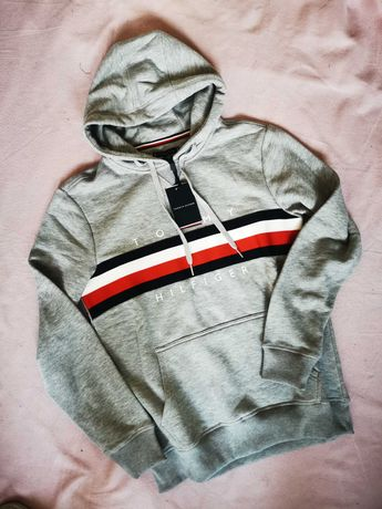 Bluza męska Tommy Hilfiger TH siwa nowość logowana premium outlet